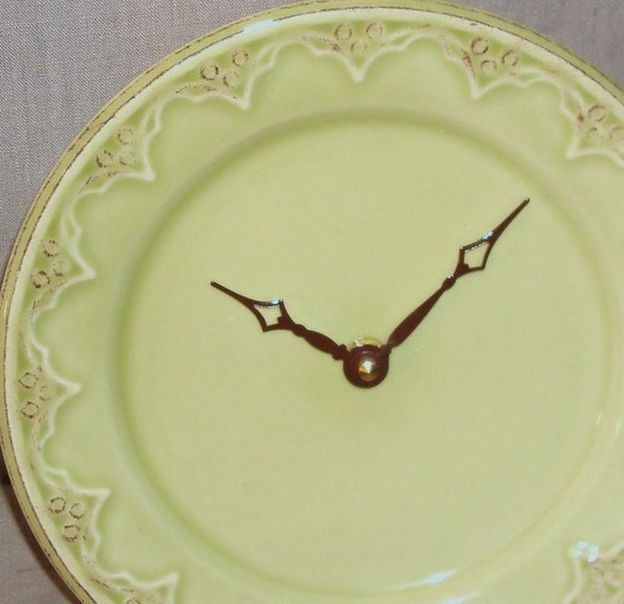 Wall Clock - Chartreuse and Brown Shabby Chic Ceramic Plate Wall Clock No. 769 (8-1/2 inches)