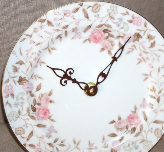 8 Inch Wall Clock - Pink and Brown Floral Clock Porcelain Plate Clock No. 782