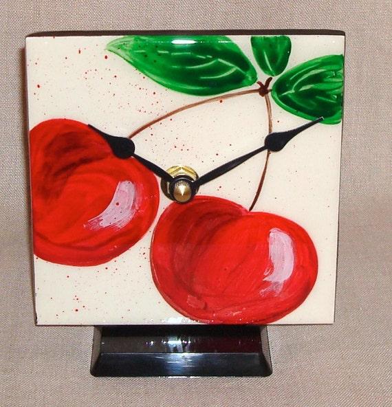 Desk or Shelf Clock - Bright Red Cherries Ceramic Tile Kitchen Counter Clock No. 817 (4-1/4 inches)