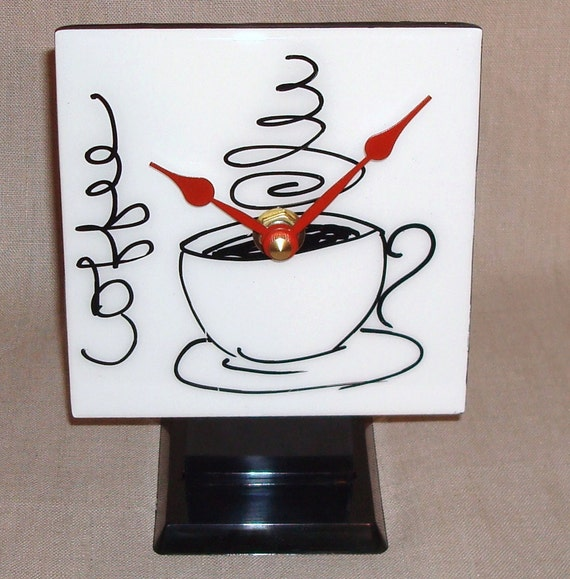 Desk or Shelf Clock - Black and White Coffee Cup Ceramic Tile Desk Clock No. 816 (4-1/4  x 5-1/2inches)