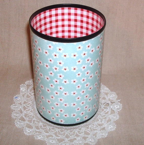 Aqua White and Red Decorative Can Pencil Holder No. 167