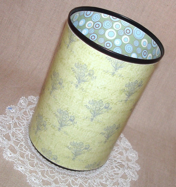 Green and Blue Botanical and Funky Circles Decorative Can Pencil Holder No. 168