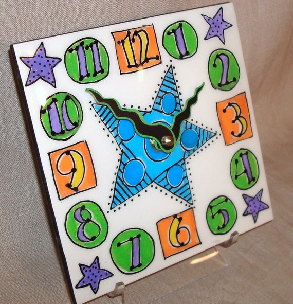 Wall Clock - Hand Painted Whimsical Funky Geometric Ceramic Tile Wall Clock No. 825 (6 inches)