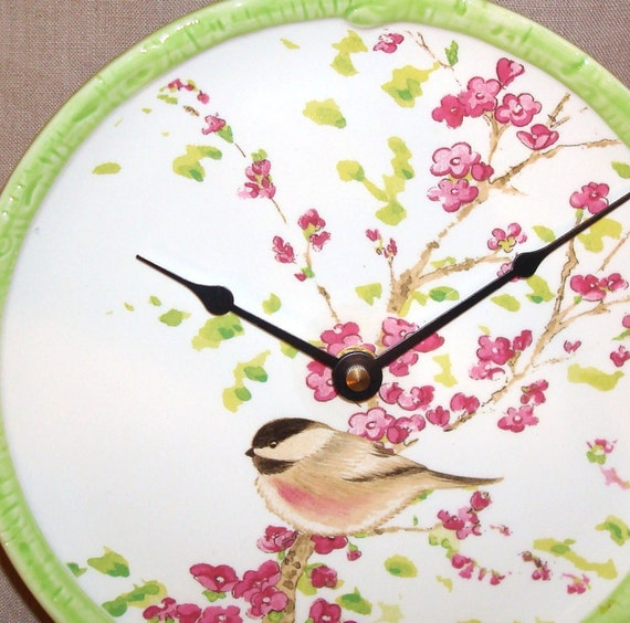 RESERVED for Jody  -  ON SALE - Wall Clock - Chickadee with Blossoms Ceramic Plate Wall Clock No. 862 (8 inches)