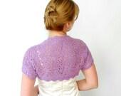 Jasmine Lace Bolero Shrug Lavender Purple Merino Wool