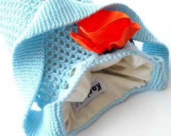 Aqua Blue Bag Hand Knit Tote Cotton Linen Mesh Lace Silk Flower