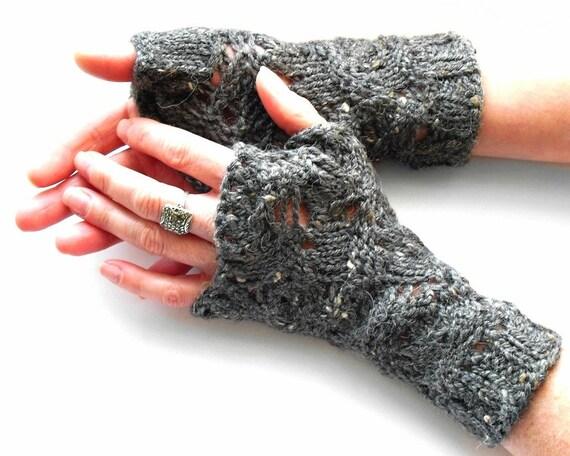 Grey Fingerless Mittens Irene Lace Grey Gloves Hand Knit Merino Wool Tweed Silk Gift Bag
