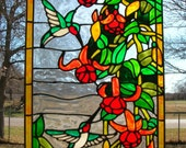 hummingbirds with red tropical flowers stained glass window acrylic
