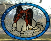 Papillon Dog stained glass window Cling 10.5 x 8 inches