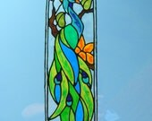 Peacock with tropical flowers stained glass window Cling