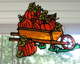 Pumpkins in a Barrel Fall Harvest Stained glass window cling