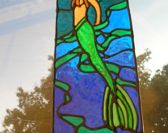 Mermaid in Seaweed stained glass window Cling