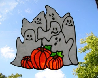 Ghosts and Pumpkins Halloween stained glass window Cling