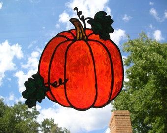 Big Pumpkin stained glass window cling