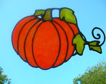 Pumpkin and vines stained glass window Cling 6 x 9