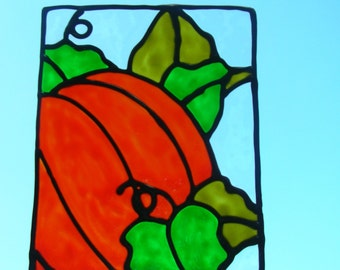 Pumpkin and leaves stained glass window Cling 6 x 7