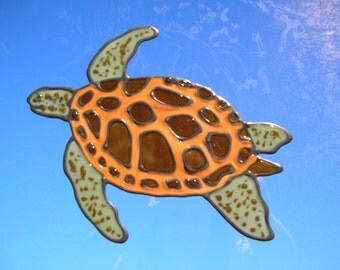 Sea turtle stained glass window cling 7.5 x 6