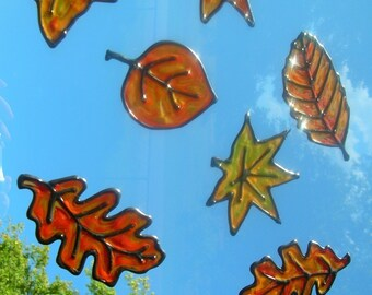 Fall Leaves Thanksgiving Harvest stained glass window clings 8 clings