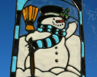 Snowman in checkers stained glass window Cling 8 x 6