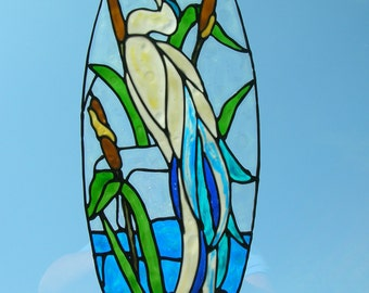 Heron in a stream with cat tails stained glass window Cling