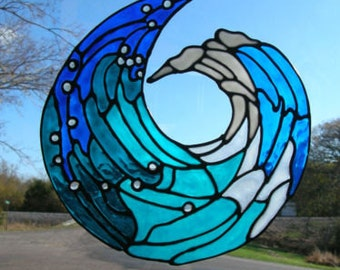 Ocean Wave Stained glass window Cling