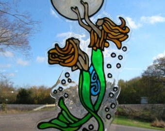 Mermaids and Moon with bubbles stained glass window CLING