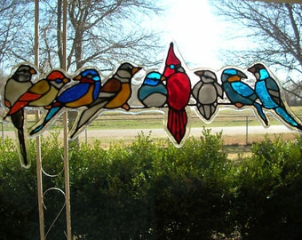 Spring birds variety stained glass window Cling