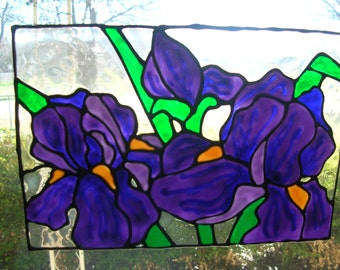 Irises flowers Stained glass window Cling