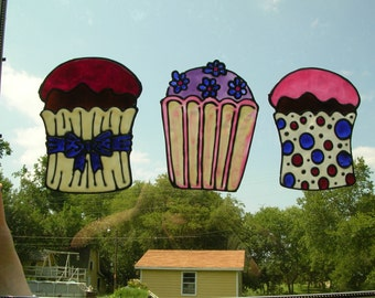 Three different Cupcake stained glass window Cling  7.5 x 6