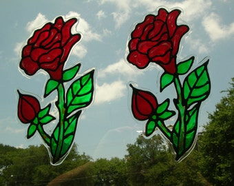 Roses with buds 2 stained glass window cling 10.5 long x 4.5 inched wide