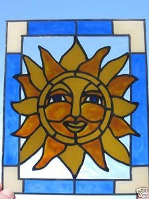Sun Colbolt blue stained glass window