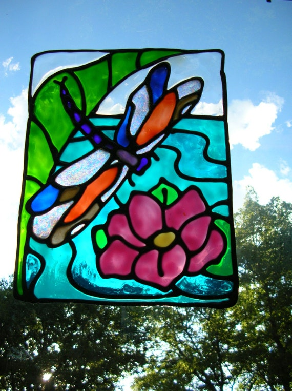 Dragonfly and Lilly pads stained glass window Cling  8.5 x 6.5