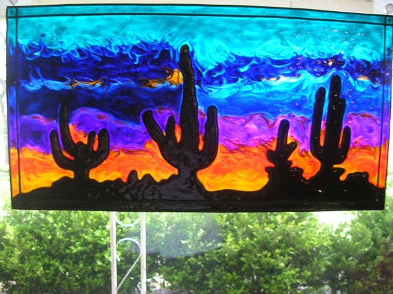 Painted desert with cactus stained acrylic glass window