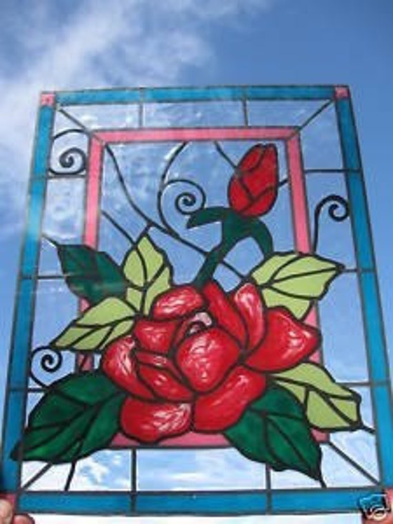 Rose and bud flowers stained glass window