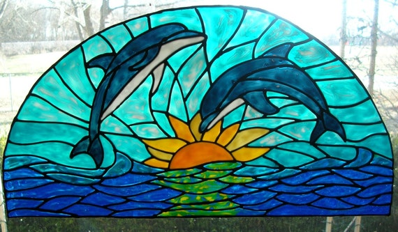 Dolphins in the sunset transom stained glass window cling 19 wide x 9 inches long
