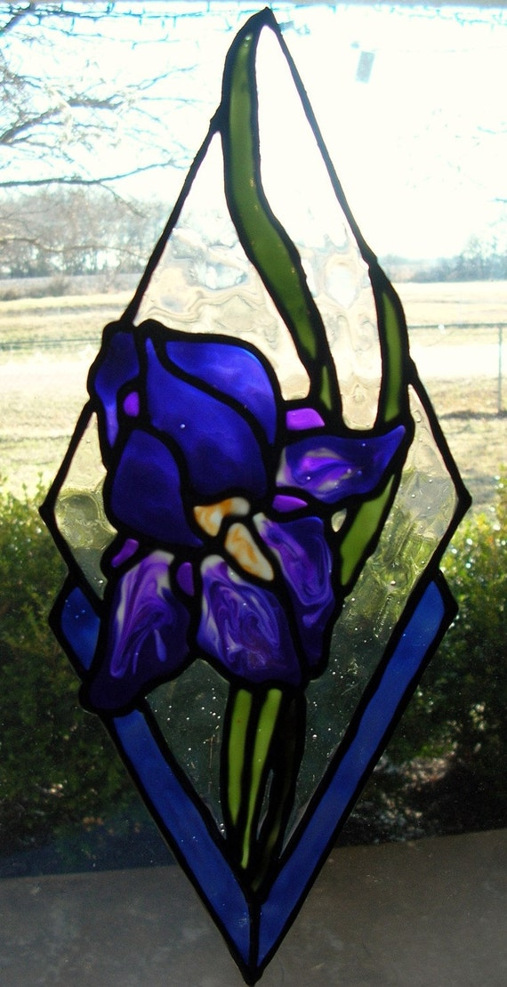 Iris Purple stained glass window cling 10.5 long x 4.5 inched wide