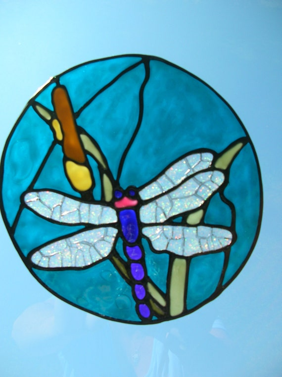 Dragonfly with cat tails nautical stained glass window Cling