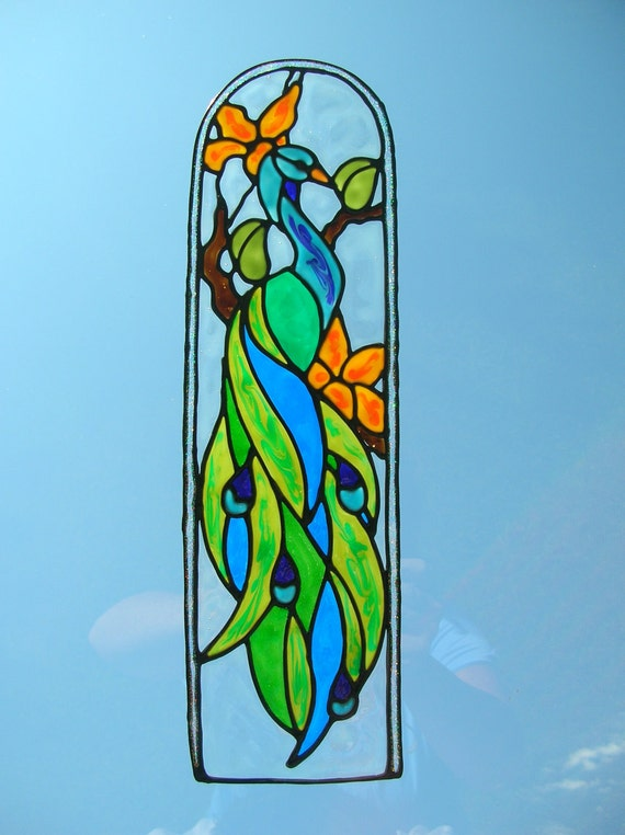with tropical flowers stained glass window Cling