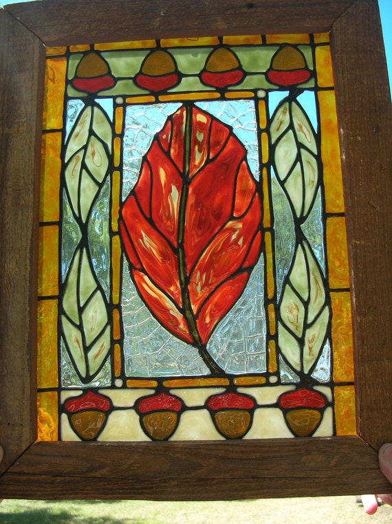 Fall Leaf Harvest Art  Amber old fashion crackle acrylic glass window in wood frame