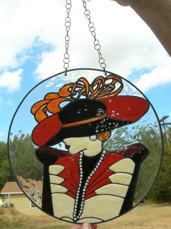 Old Fashion Lady in Hat Stained Glass WIndow 12 inches in circumference