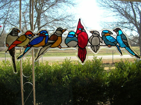 Spring Birds Variety Stained Glass Window Cling - Window decals for birds canada