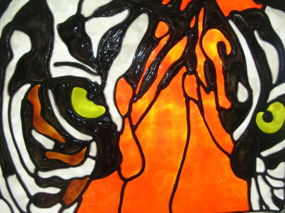 Tiger Stained glass window Cling