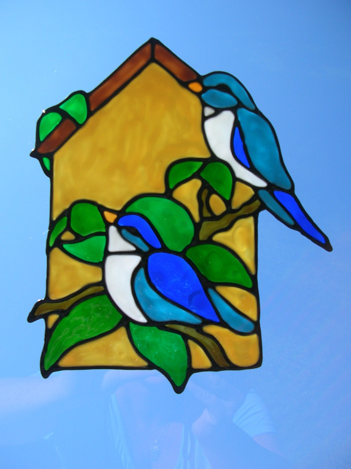 Spring birds outside birdhouse stained glass by windows2thesoul