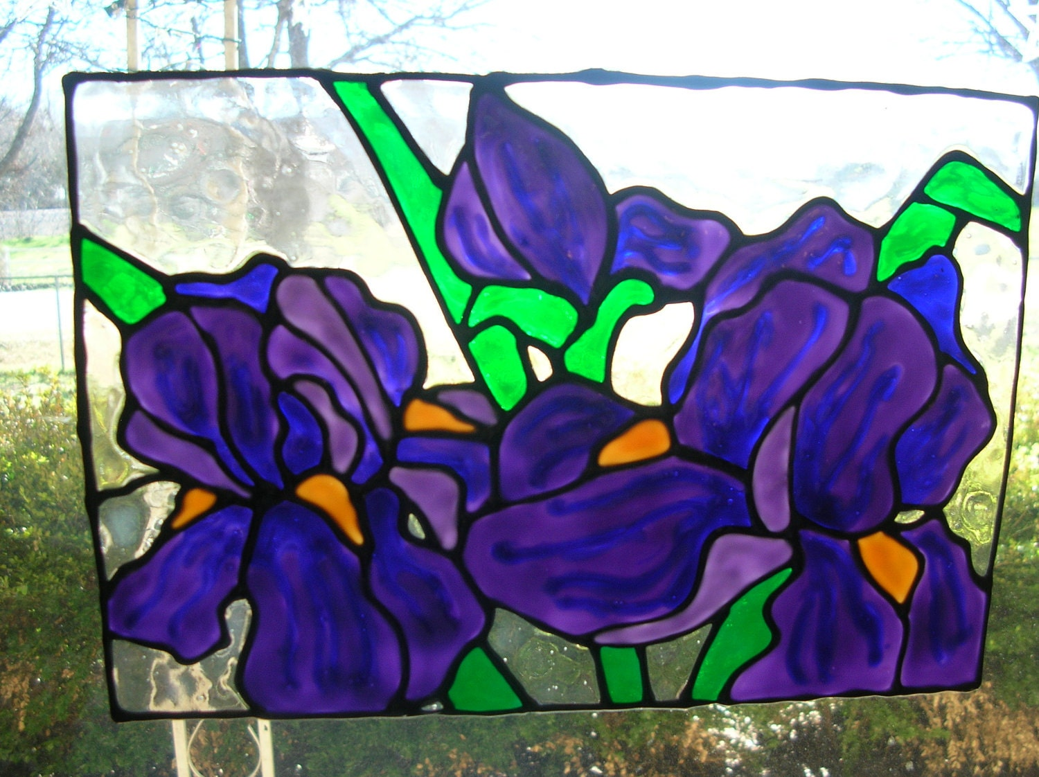 irises flowers stained glass window cling. Black Bedroom Furniture Sets. Home Design Ideas