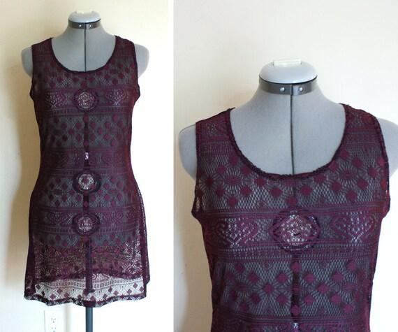 size s vintage 90's eggplant sheer lace mini dress.