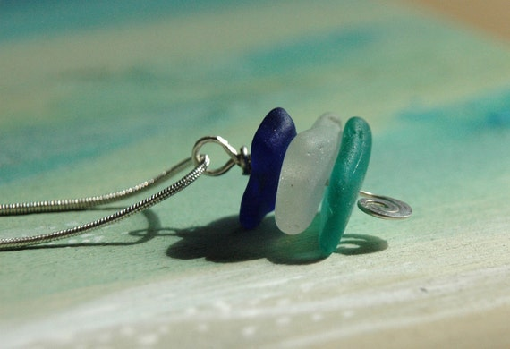 Stacked Sea Glass and Hammered Silver Pendant- RARE  and EXTREMELY rare colors
