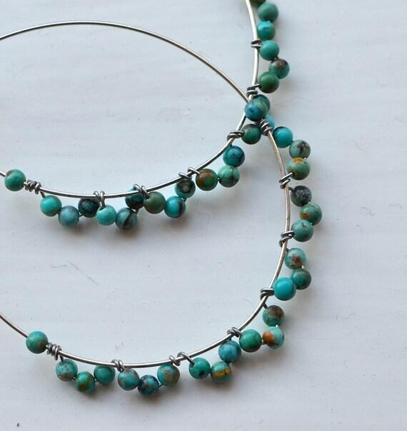Bits of Sky Turquoise Hoop Earrings