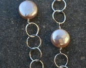 Holiday special 20 percent off - luminous champagne peach coin pearl necklace