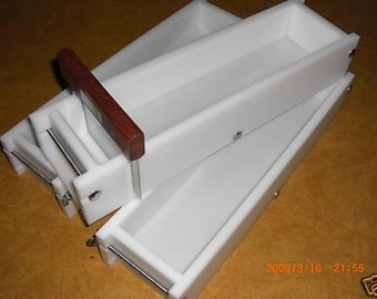4-5 LB HDPE No Line SOAP Molds & Bar Cutter Wooden Lid Aval. E