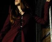 Hooded Full-length Burgundy Coat - SAMPLE SALE